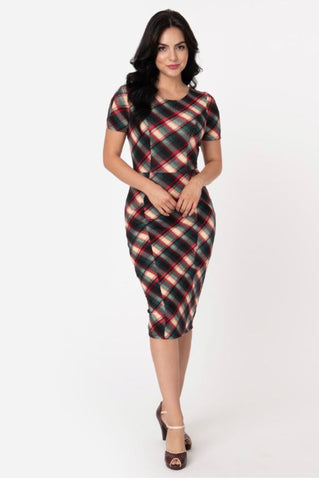 Red & Green Plaid | Unique Vintage 1960s Style Mod Wiggle Dress | XS-5X