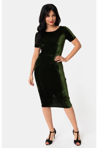 Emerald Velvet | Unique Vintage 1960s Style Mod Wiggle Dress | LARGE