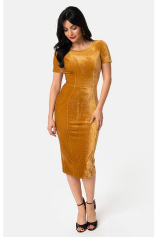 Gold Velvet | Unique Vintage 1960s Style Mod Wiggle Dress | LARGE