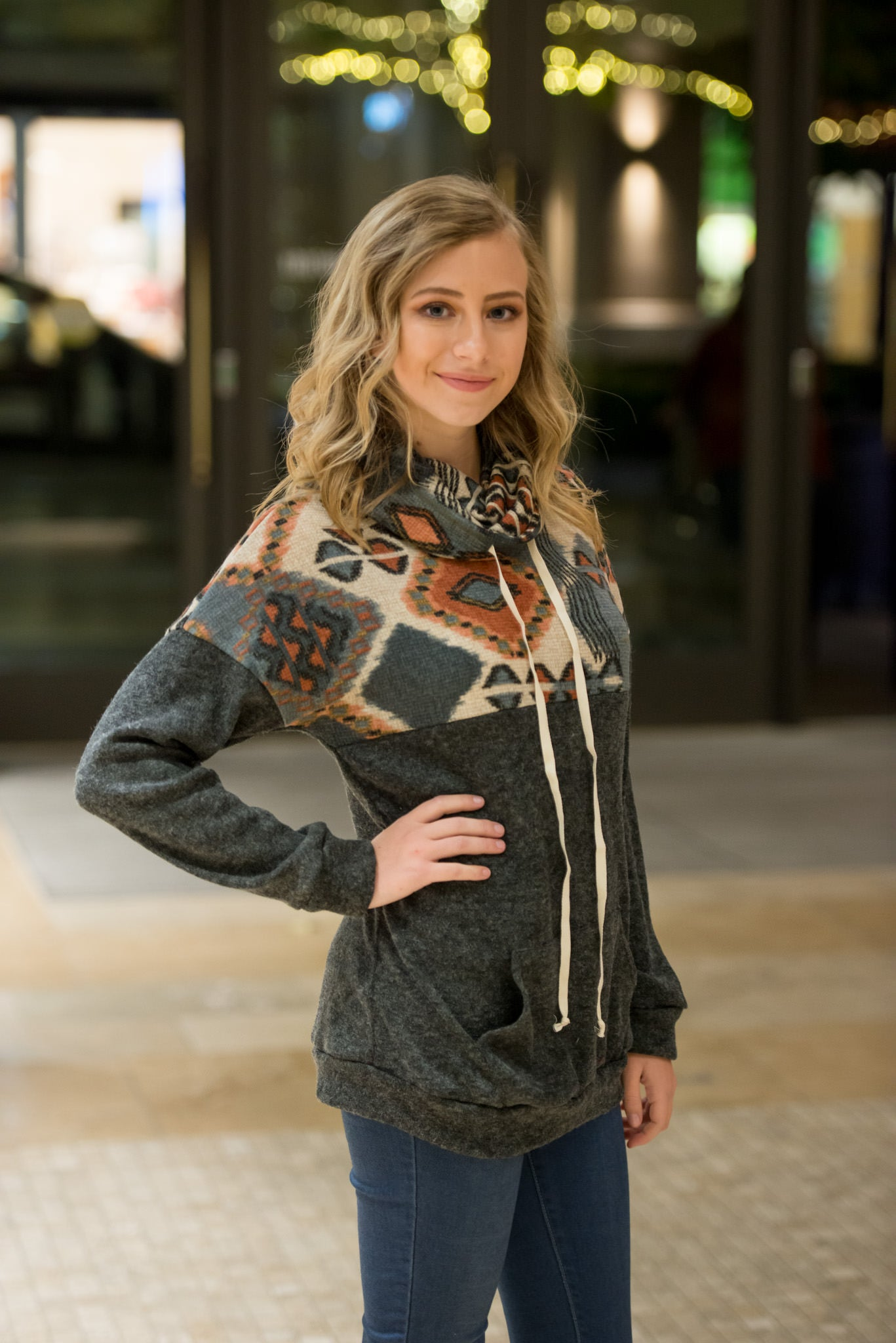 Tribal Print Cowl Neck Sweater