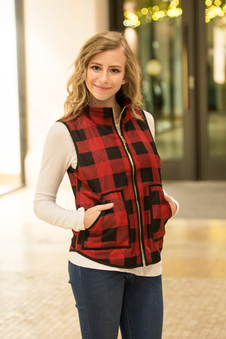 Buffalo Plaid Vest | Size Medium