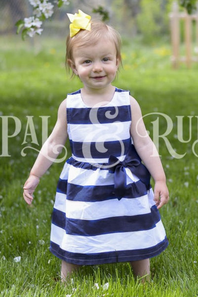 Girls Blue and White Striped Dress
