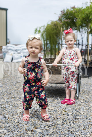 Girls Summer Floral Romper Jumpsuit