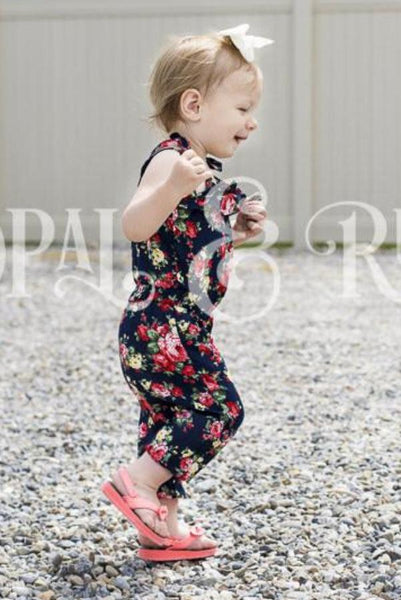 Girls Summer Navy Floral Romper Jumpsuit