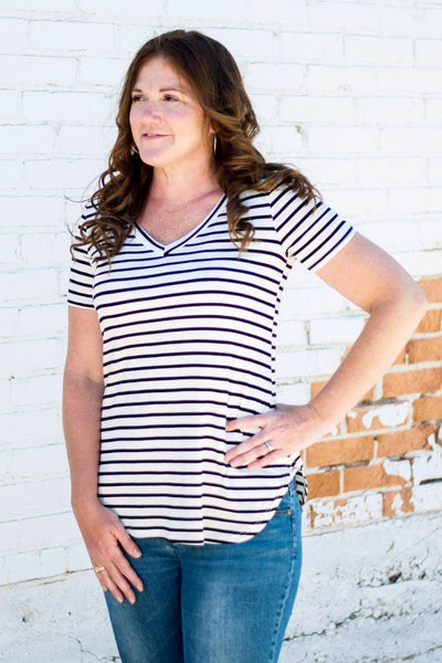 Striped Anytime Tee  |  2 Colors