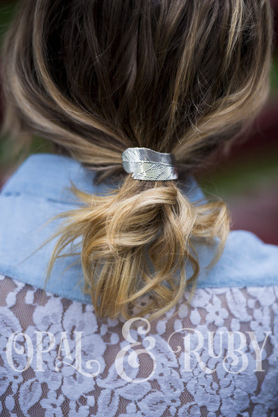 Feather Hair Elastic in Gold or Silver