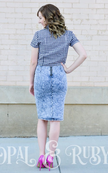 Acid Wash Denim Pencil Skirt