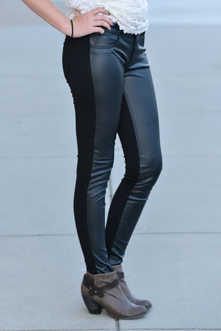 Flying Monkey Leather/Knit Leggings