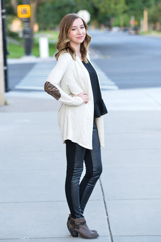 Sequin Elbow Patch Cardigan