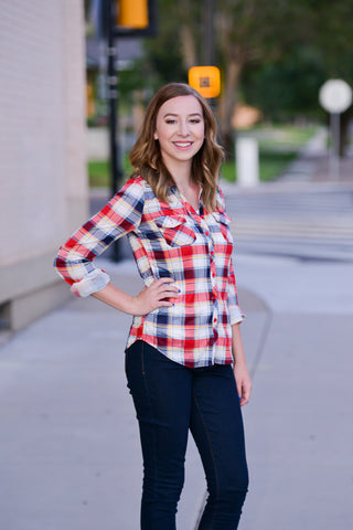 Red Plaid Button-Up Shirt