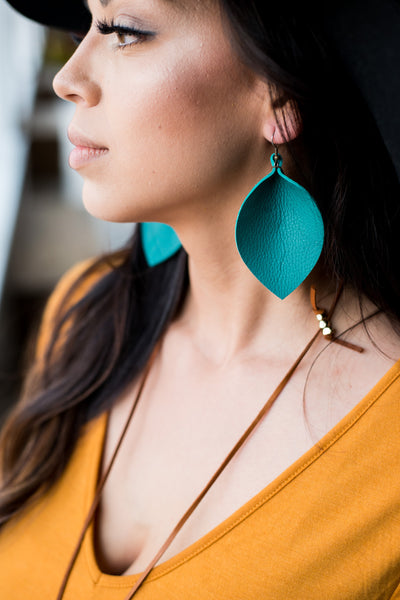 Leather Earrings  |  Leaf Shape  |  X-Large
