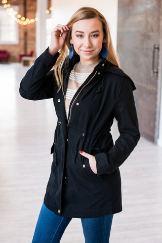 Long Anorak Military Jacket  | Black