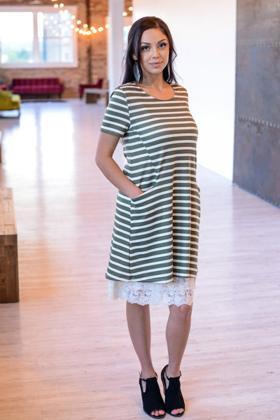 Striped Short Sleeve Tunic Dress | 2 Colors