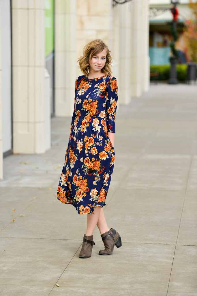 3/4 Sleeve Floral Dress | 3 Colors