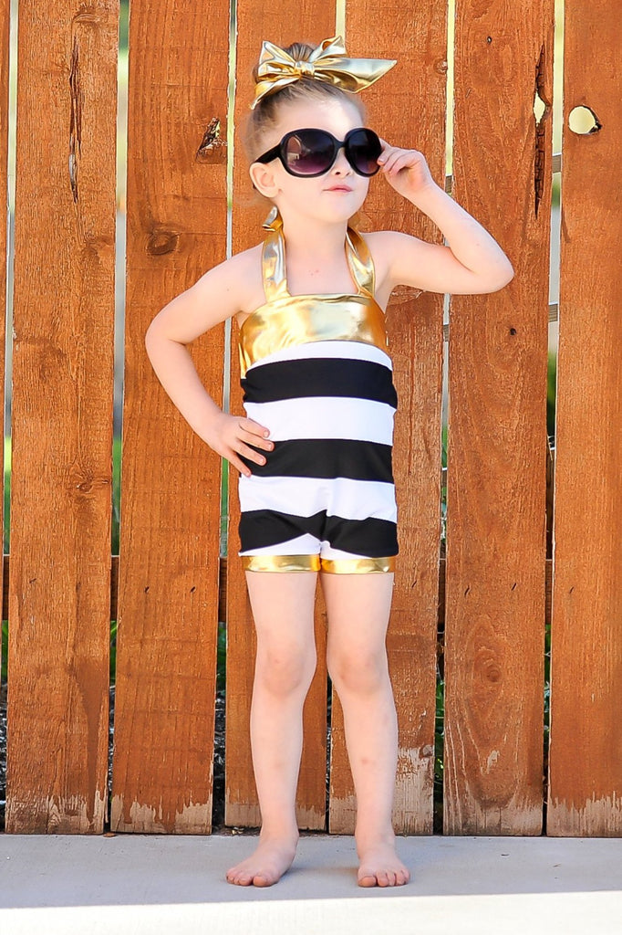 Girls Black & White Swimsuit