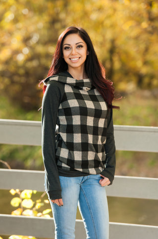 Plaid Print Hoodie in Two Colors