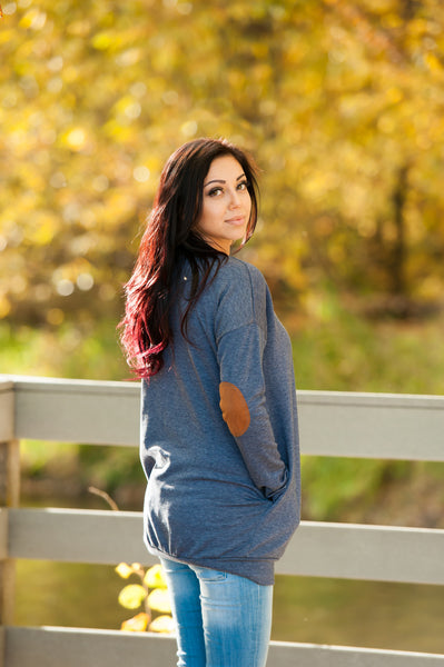 Elbow Patch Tunic Sweatshirt