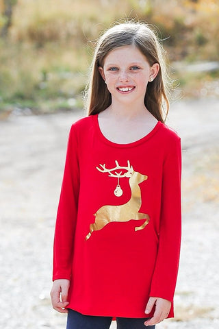 Girls Reindeer Shirt