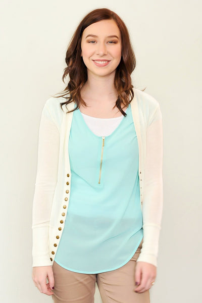 Everyday Chiffon Zipper Blouse