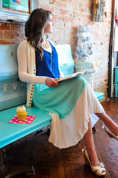 Pleated Mint Skirt