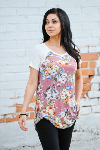 Flower Raglan Tee | 3 Colors