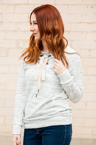 Lace Up Sweatshirt  |  4 Colors
