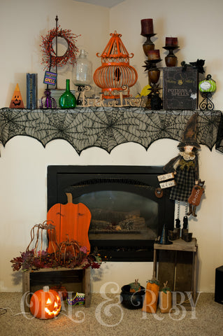 Halloween Spider Web Lace Banner or Shawl