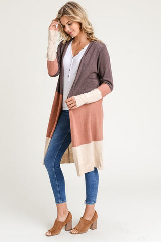 Nora Colorblock Open Cardigan