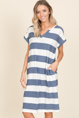 Navie V-Neck Striped Dress