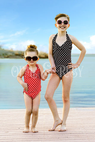 Girls Retro Polka Dot Swimsuit