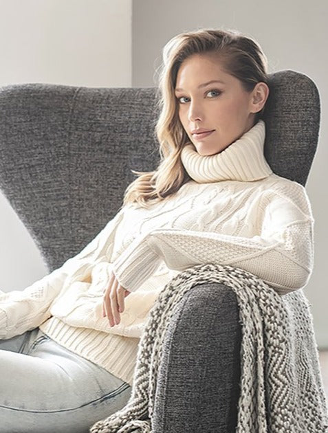 Tessa Cable Knit Turtleneck Sweater
