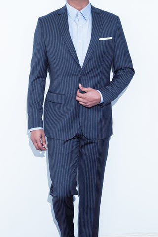 Charcoal Chalk Stripe Suit - Alexander Bironi