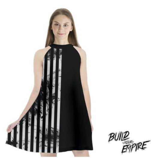 Two Faced Duality Halter Chiffon Dress | Dress | Nu Goth & Alternative Apparel | Build Your Empire Clothing Co.