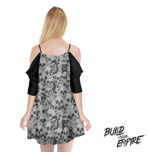 Pile of Skulls Cold Shoulder Chiffon Dress | Dress | Nu Goth & Alternative Apparel | Build Your Empire Clothing Co.