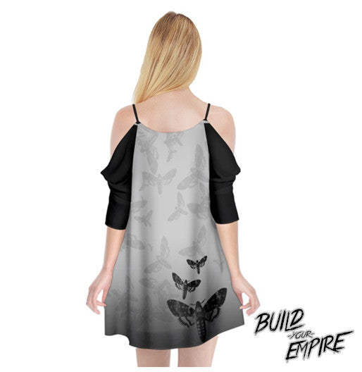 Moth to Flames Cold Shoulder Chiffon Dress | Dress | Nu Goth & Alternative Apparel | Build Your Empire Clothing Co.