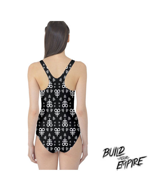Blasphemy! One Piece Swim Suit | Women's Swim Wear | Nu Goth & Alternative Apparel | Build Your Empire Clothing Co.