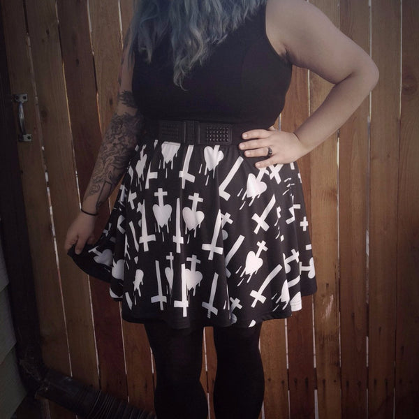 Invert Your Heart Skater Skirt - Build Your Empire Clothing Co | Nu goth & Alternative Apparel - 1