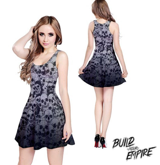 Pile of Skulls Dress - Build Your Empire Clothing Co | Nu goth & Alternative Apparel - 2