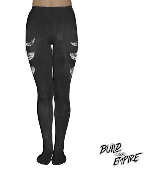 Moon Phase Tights | Tights | Nu Goth & Alternative Apparel | Build Your Empire Clothing Co.