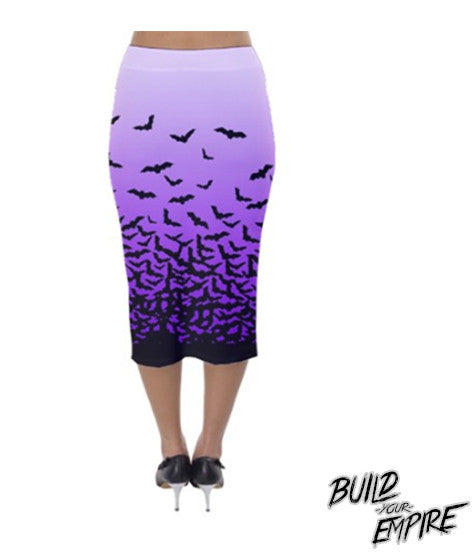 Fade to Bats Pencil Skirt | Skirt | Nu Goth & Alternative Apparel | Build Your Empire Clothing Co.