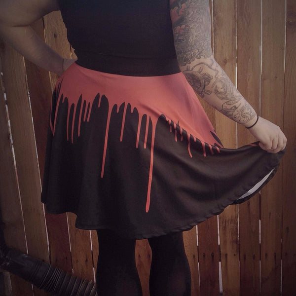 Blood Drip High Waisted Skirt | Skirt | Nu Goth & Alternative Apparel | Build Your Empire Clothing Co.
