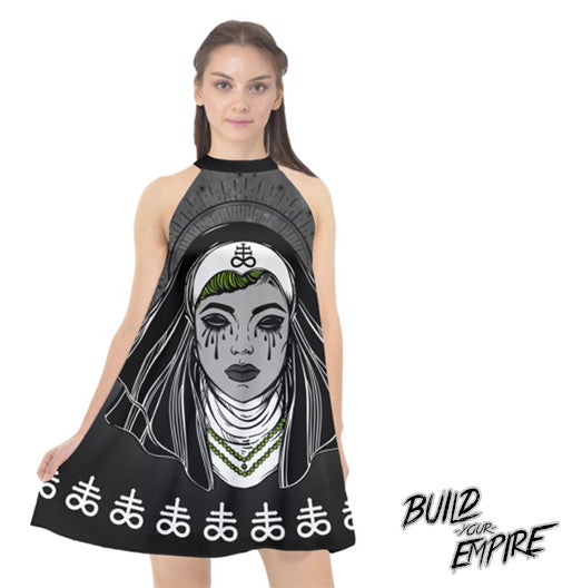 Satanic Nun Halter Chiffon Dress | Dress | Nu Goth & Alternative Apparel | Build Your Empire Clothing Co.