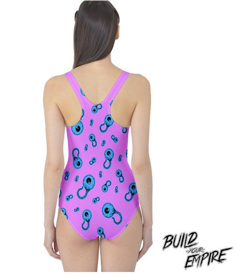 Candy Coated Eyeballs One Piece Swim Suit | Women's Swim Wear | Nu Goth & Alternative Apparel | Build Your Empire Clothing Co.