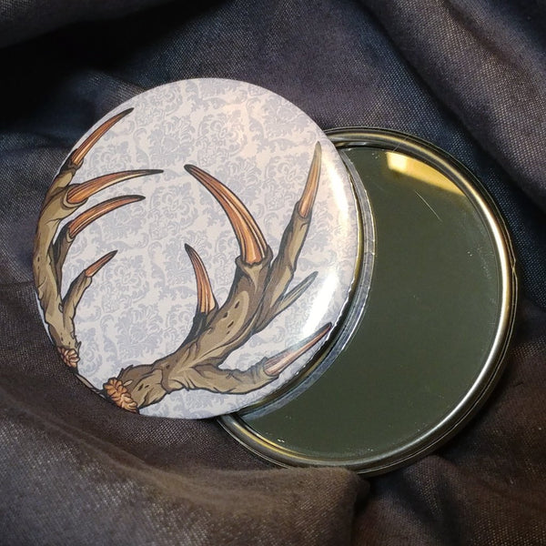 Deer Horns Pocket Mirror | Mirror | Nu Goth & Alternative Apparel | Build Your Empire Clothing Co.