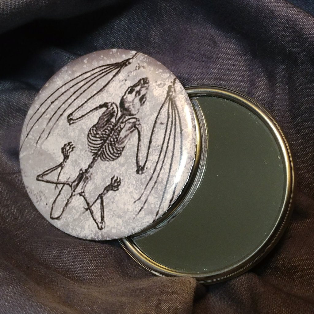 Bat Skeleton Pocket Mirror | Mirror | Nu Goth & Alternative Apparel | Build Your Empire Clothing Co.