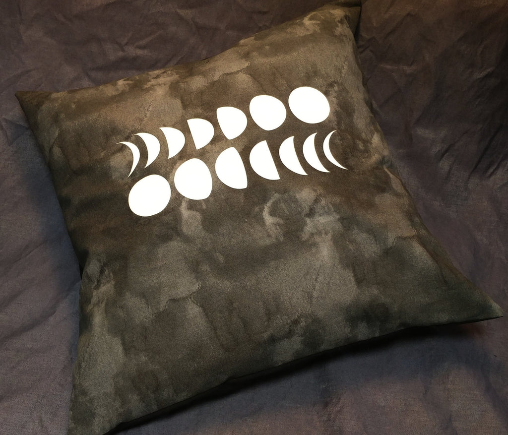 Moon Phases Glow-in-the-dark Pillow Case | Pillow | Nu Goth & Alternative Apparel | Build Your Empire Clothing Co.