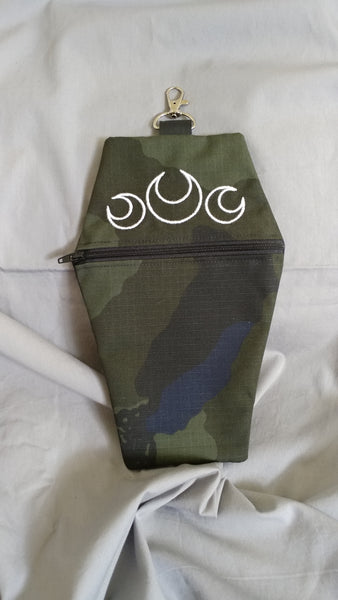 Camo Trinity Moon Coffin Zipper Clutch Purse