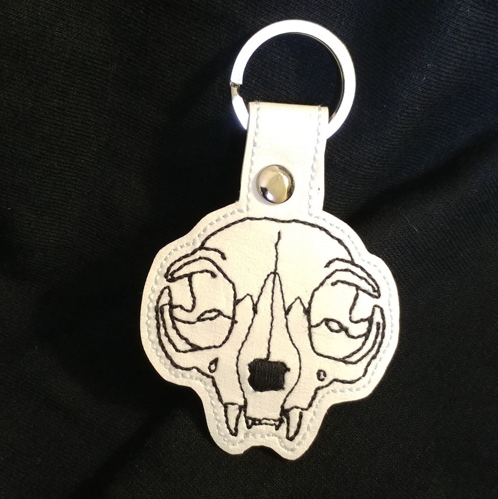 White Cat Skull Keychain