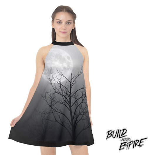 Full Moon Light Halter Chiffon Dress | Dress | Nu Goth & Alternative Apparel | Build Your Empire Clothing Co.