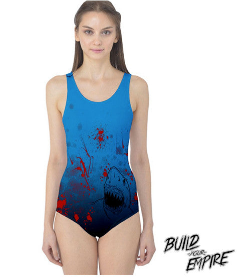 Shark Attack! One Piece Swim Suit | Women's Swim Wear | Nu Goth & Alternative Apparel | Build Your Empire Clothing Co.
